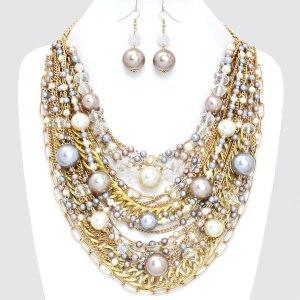 "15"" Multi Layered Pearl Oversized BIB Dangled Statement Necklace Set $40.00"