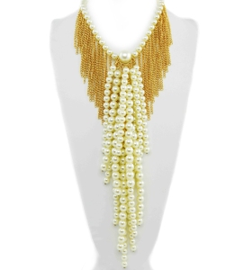 "$45.00 18"" Cream Oversized Pearl Multi Strand Statement Necklace Set"